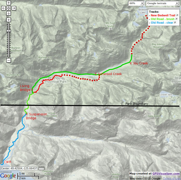 Map of the Bedwell Valley Trail